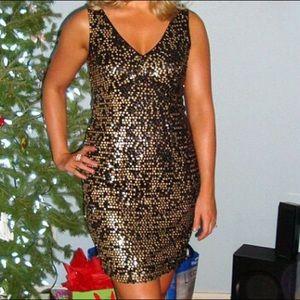 Black & Gold Sequin Party Dress